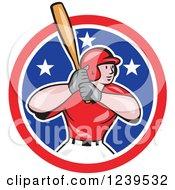 Cartoon Baseball Player Batter Swinging In An American Circle