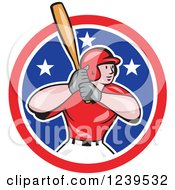 Clipart Of A Cartoon Baseball Player Batter Swinging In An American Circle Royalty Free Vector Illustration by patrimonio