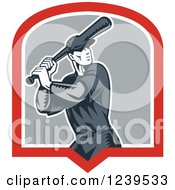 Clipart Of A Retro Woodcut Baseball Player Batter In A Shield Royalty Free Vector Illustration