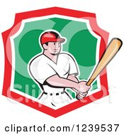 Clipart Of A Cartoon Baseball Player Batter Swinging In A Red White And Green Shield Royalty Free Vector Illustration