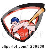 Clipart Of A Cartoon Baseball Player Batter Swinging In A Red White And Black Shield Royalty Free Vector Illustration