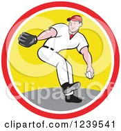 Clipart Of A Baseball Player Pitching In A Circle Royalty Free Vector Illustration