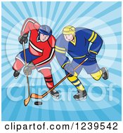 Clipart Of Cartoon Hockey Players Over Blue Rays Royalty Free Vector Illustration
