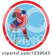 Clipart Of A Cartoon Hockey Player In An Oval Of Blue Rays Royalty Free Vector Illustration by patrimonio