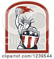 Clipart Of A Retro Statue Of Liberty Holding A Torch And Shield Royalty Free Vector Illustration