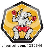 Cartoon Boxer Republican Elephant Over Yellow