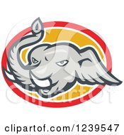 Clipart Of An Elephant Head On A Yellow And Red Oval Royalty Free Vector Illustration