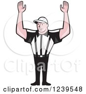 Cartoon American Footbal Referree Holding His Arms Up For A Touchdown