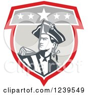 Clipart Of An American Patriot Soldier In A Shield Royalty Free Vector Illustration