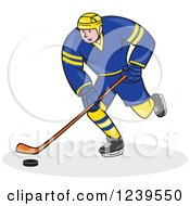 Clipart Of A Cartoon Hockey Player In Blue And Yellow Royalty Free Vector Illustration by patrimonio