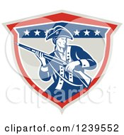 Clipart Of An American Patriot Soldier With A Musket In A Shield Royalty Free Vector Illustration