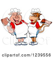 Clipart Of A Male Chef Pig Holding Ribs And Female Chef Cow Holding Brisket Royalty Free Vector Illustration by LaffToon #COLLC1239556-0065