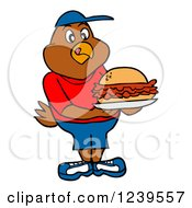 Hungry Boy Chicken Holding A Pulled Pork Sandwich