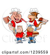 Clipart Of A Chef Pig And Female Cow Over A Pig Girl And Chicken Boy With Meats Royalty Free Vector Illustration