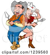 Clipart Of An Old Country Hick Man And Young Cowgirl With A Bbq Fork And Spatula Royalty Free Vector Illustration by LaffToon