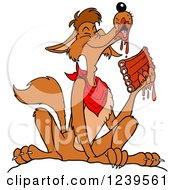 Clipart Of A Coyote Wearing A Bib And Eating Saucy Bbq Ribs Royalty Free Vector Illustration