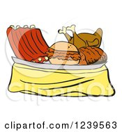 Clipart Of A Platter Of Bbq Ribs Roasted Chicken Brisket And Pulled Pork Sandwich Royalty Free Vector Illustration