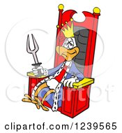 Clipart Of A Bbq King Chicken With A Fork Sitting On A Throne Royalty Free Vector Illustration