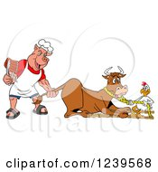 Chef Pig Holding Ribs And Pulling The Tail Of A Cow While A Chicken Holds A Rope