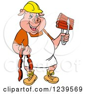 Clipart Of A Chef Pig Wearing A Hardhat And Apron Holding Sausage And Bbq Ribs Royalty Free Vector Illustration