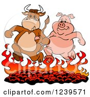 Clipart Of A Bull And Pig Running Over Hot Bbq Coals Royalty Free Vector Illustration by LaffToon