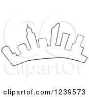 Clipart Of An Outlined City Skyline Of Perth Australia Royalty Free Vector Illustration