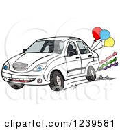 Car Character Driving With Party Balloons And Streamers