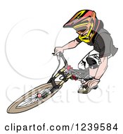 Clipart Of An Extreme Bike Rider Catching Air Royalty Free Vector Illustration by LaffToon
