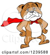 Clipart Of A Super Bulldog In A Red Cape Royalty Free Vector Illustration