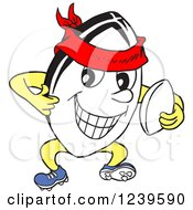 Clipart Of A Happy Rugby Ball Mascot Holding A Thumb Up Royalty Free Vector Illustration by LaffToon