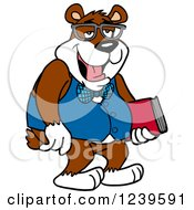 Clipart Of A Bespectacled Geek Bear Holding A Book Royalty Free Vector Illustration by LaffToon