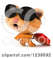 Clipart Of A 3d Cute Traveling Ginger Cat Swith Sunglasses And A Suitcase Royalty Free Illustration