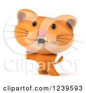 Clipart Of A 3d Cute Happy Ginger Cat Standing On His Hind Legs Royalty Free Illustration