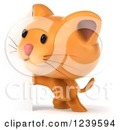 Clipart Of A 3d Cute Happy Ginger Cat Standing By A Sign Royalty Free Illustration