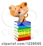 Clipart Of A 3d Happy Ginger Cat On A Stack Of Books Royalty Free Illustration