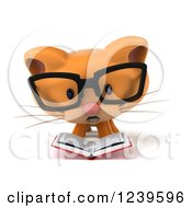 Clipart Of A 3d Bespectacled Ginger Cat Reading A Book Royalty Free Illustration