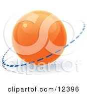 Clipart Illustration Of An Orange 3D Orb Sphere With A Ring Around It Internet Button by Leo Blanchette