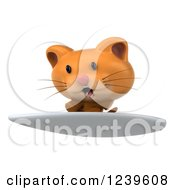 Clipart Of A 3d Ginger Cat Surfing 5 Royalty Free Illustration