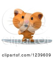 Clipart Of A 3d Ginger Cat Surfing 4 Royalty Free Illustration