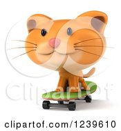 Clipart Of A 3d Ginger Cat Skateboarding 6 Royalty Free Illustration