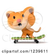 Clipart Of A 3d Ginger Cat Skateboarding 5 Royalty Free Illustration