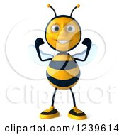 Clipart Of A 3d Strong Bee Flexing His Muscles Royalty Free Illustration