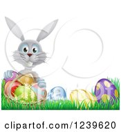 Clipart Of A Happy Gray Easter Bunny With A Basket And Eggs In Grass Royalty Free Vector Illustration