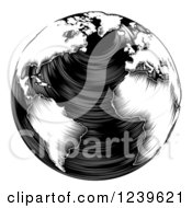 Clipart Of A Black And White Woodblock Earth Royalty Free Vector Illustration
