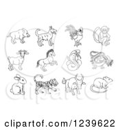 Clipart Of Black And White Outlined Chinese Zodiac Animals Royalty Free Vector Illustration