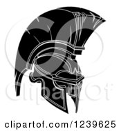 Clipart Of A Black And White Trojan Spartan Helmet Royalty Free Vector Illustration