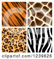 Clipart Of Seamless Giraffe Leopard Zebra And Tiger Stripe Animal Prints Royalty Free Vector Illustration by AtStockIllustration
