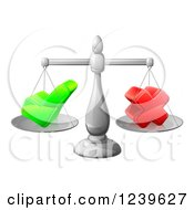 Clipart Of A 3d Scales Weighing A Decision Check Mark And X Cross Royalty Free Vector Illustration