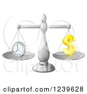 Clipart Of A 3d Scales Balancing Time And Money As A Dollar Symbol Royalty Free Vector Illustration by AtStockIllustration