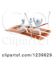 Clipart Of A 3d Silver Man Winning A Race Royalty Free Vector Illustration